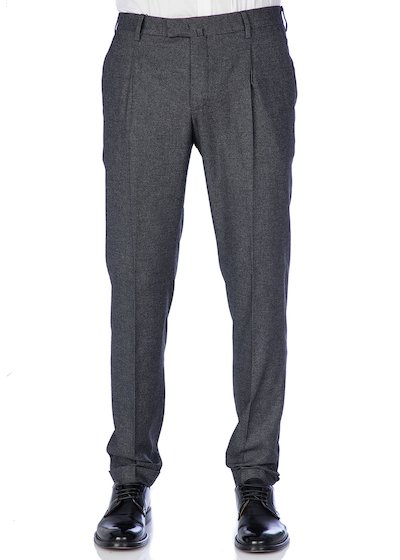 Melange wool trousers with pleated  and cuffs - Dark Grey