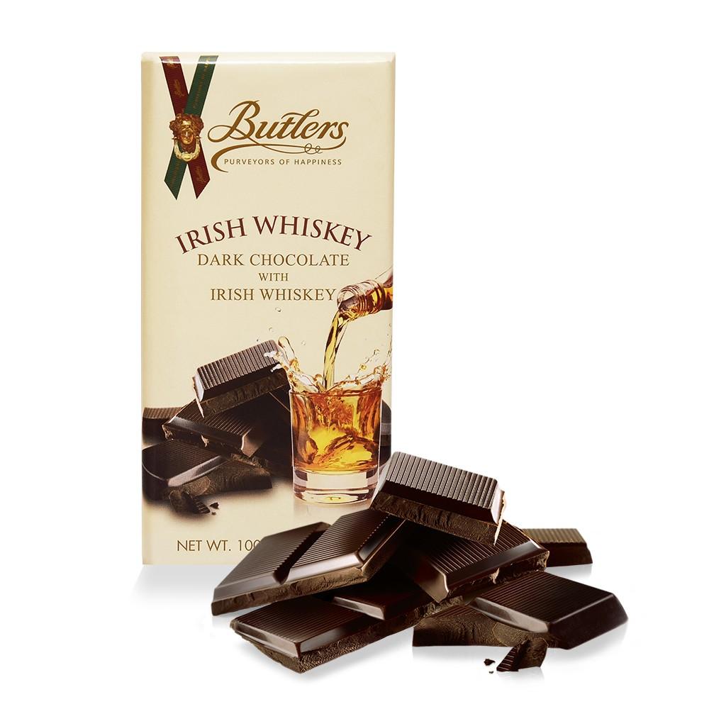 Dark Chocolate Bar with Irish Whiskey, Pack of 6 Bars