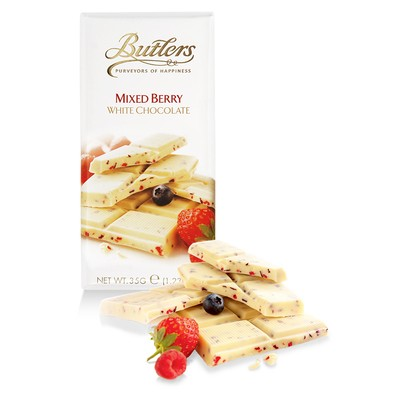 Butlers Mini White Chocolate Bar with Mixed Berries, Pack of 10 Bars