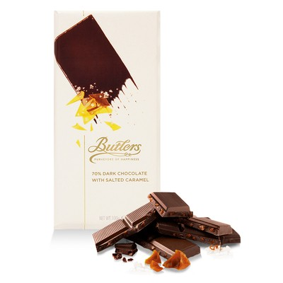 Large 70% Dark Chocolate Bar with Salted Caramel, Pack of 6 Bars