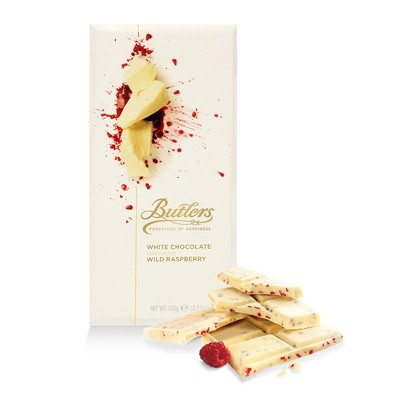 Large White Chocolate Bar with Wild Raspberry, Pack of 6 Bars