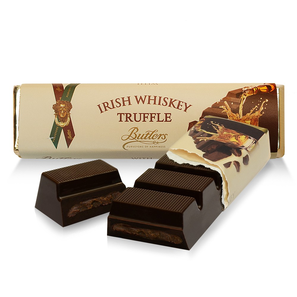 Dark Chocolate Irish Whiskey Truffle Bars, Pack of 12 Bars