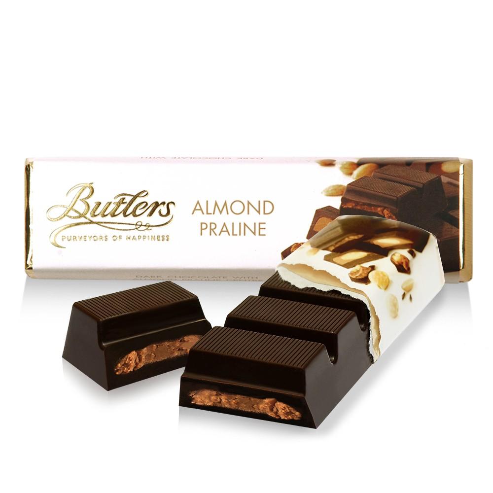 Dark Chocolate Almond Praline Bar, Pack of 12 Bars