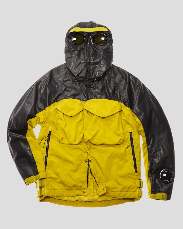 Quarz-Jacke mit durchgehendem Reißverschluss, Goggles und Kontrasteffekten