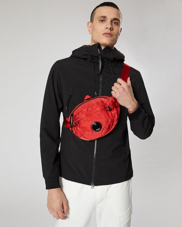 Garment Dyed Nylon Sateen Lens Waist Bag in Poinciana