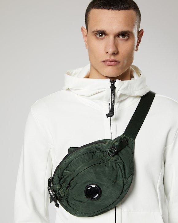 Garment Dyed Nylon Sateen Lens Waist Bag in Light Green