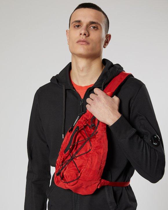 Garment Dyed Nylon Sateen Lens Shoulder Bag in Poinciana