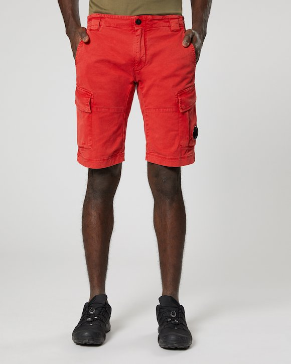Re-colour Stretch Gabardine Cargo Lens Shorts in Poinciana