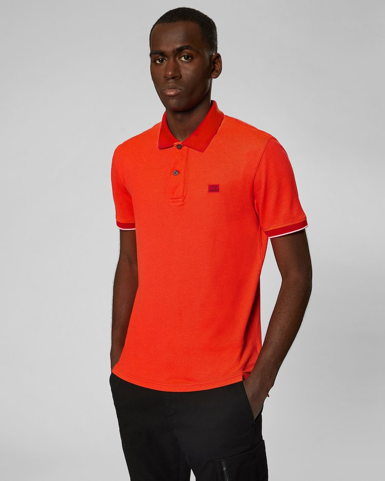 Garment Dyed Tacting Piquet Polo Shirt in Poinciana