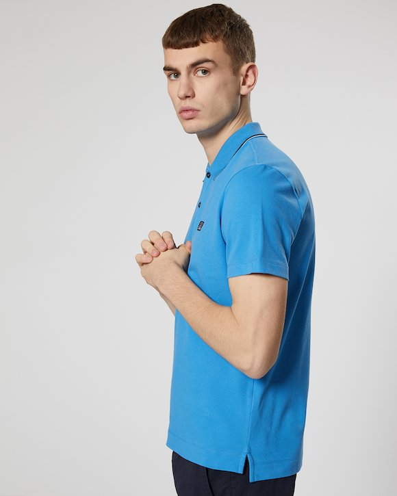 Stretch Piquet Polo Shirt in Imperial Blue