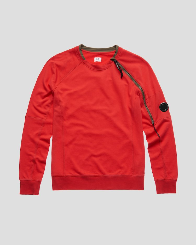 Light Fleece Zip Sleeve Lens Sweatshirt in Poinciana