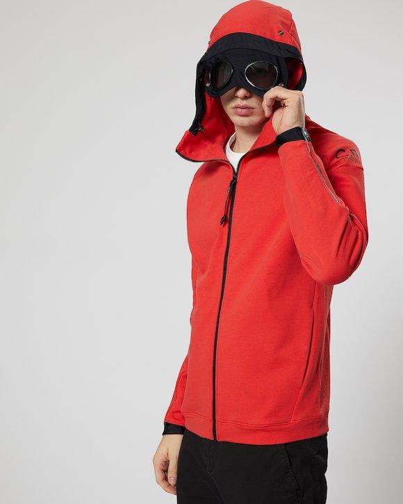 Diagonal Fleece Goggle Zip Hoodie in Poinciana