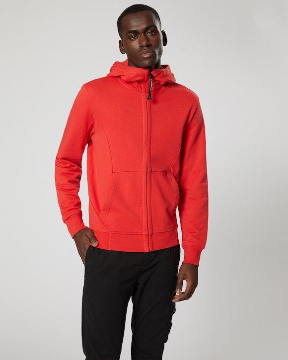 Diagonal Fleece Goggle Sweatshirt in Poinciana