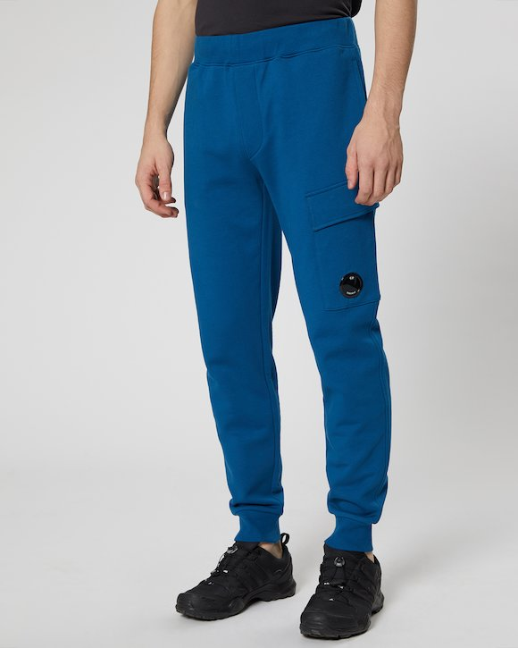 Diagonal Fleece Lens Pocket Sweatpant in Moroccan Blue