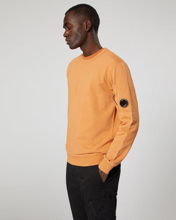 Garment Dyed Light Fleece Lens Crew Sweatshirt in Topaz