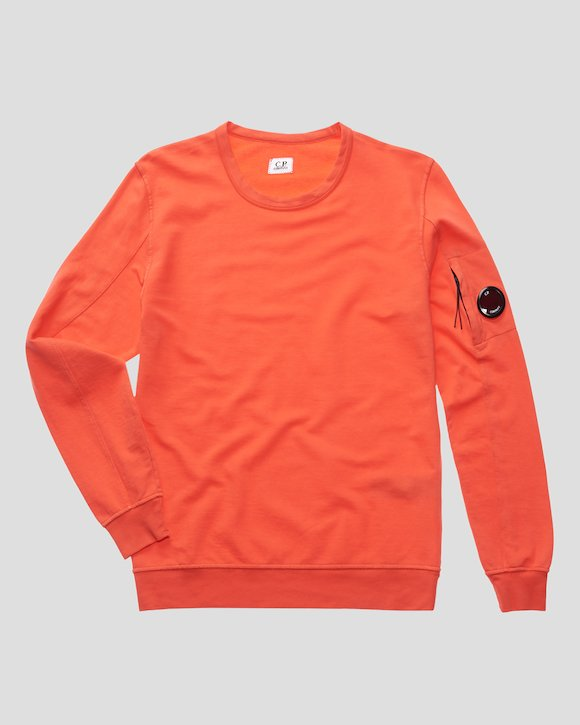 Garment Dyed Light Fleece Lens Crew Sweatshirt in Poinciana