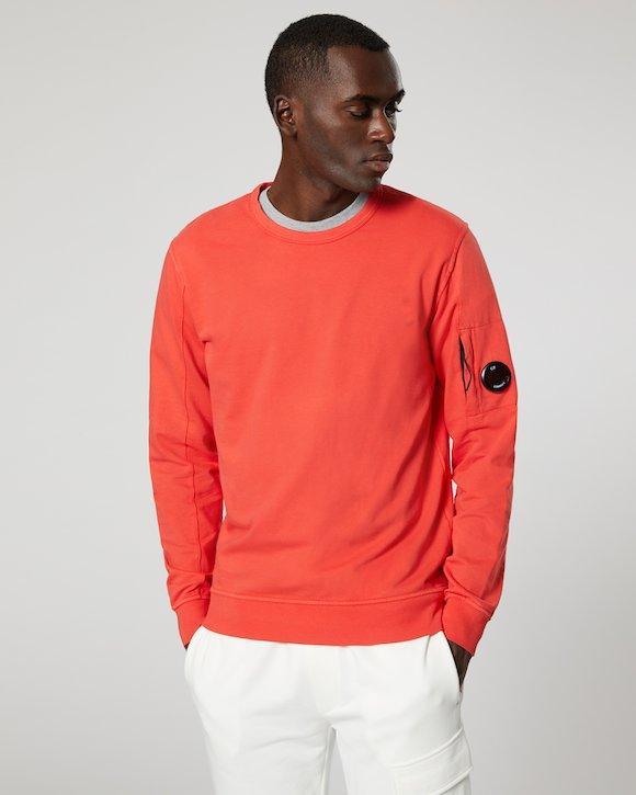 Garment Dyed Light Fleece Lens Crew Sweatshirt in Poinciana