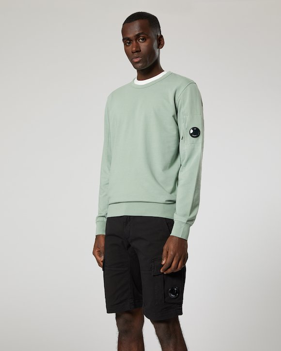 Garment Dyed Light Fleece Lens Crew Sweatshirt in Green Bay