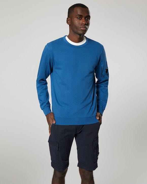 Garment Dyed Light Fleece Lens Crew Sweatshirt in Moroccan Blue