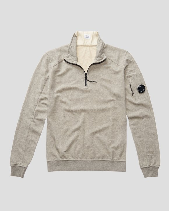 Garment Dyed Light Fleece Lens Zip Neck Sweatshirt in Grey Melange