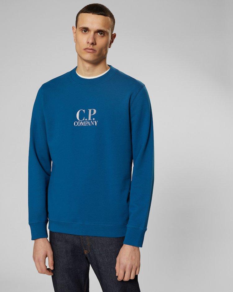 Diagonal Fleece Crew Sweatshirt in Moroccan Blue