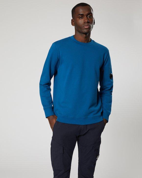 Diagonal Fleece Lens Crew Sweatshirt in Moroccan Blue