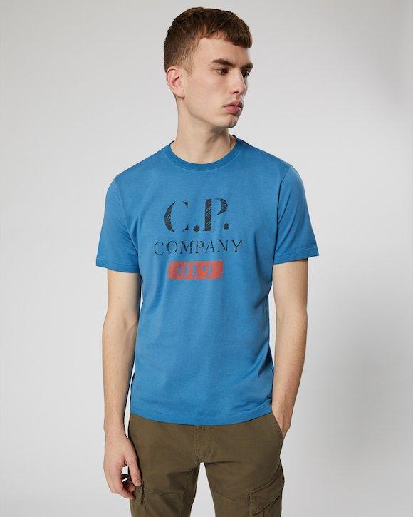 Re-Colour Makò Jersey Vintage Logo Crew T-Shirt in Moroccan Blue
