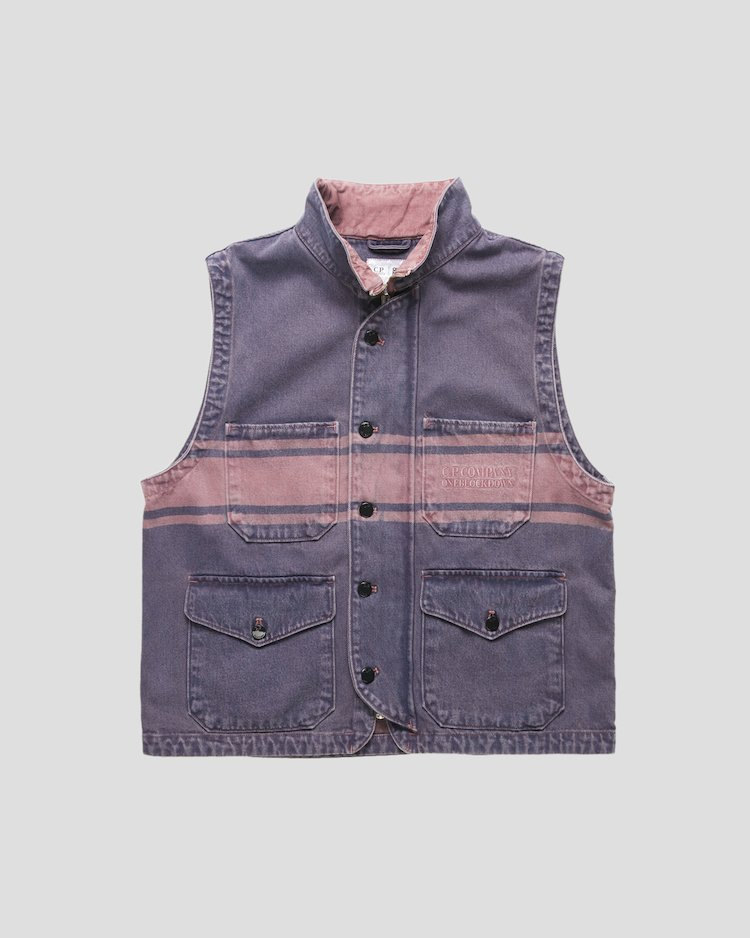 Denim 14 3/4 OZ Vest in Pink Overdyed Denim