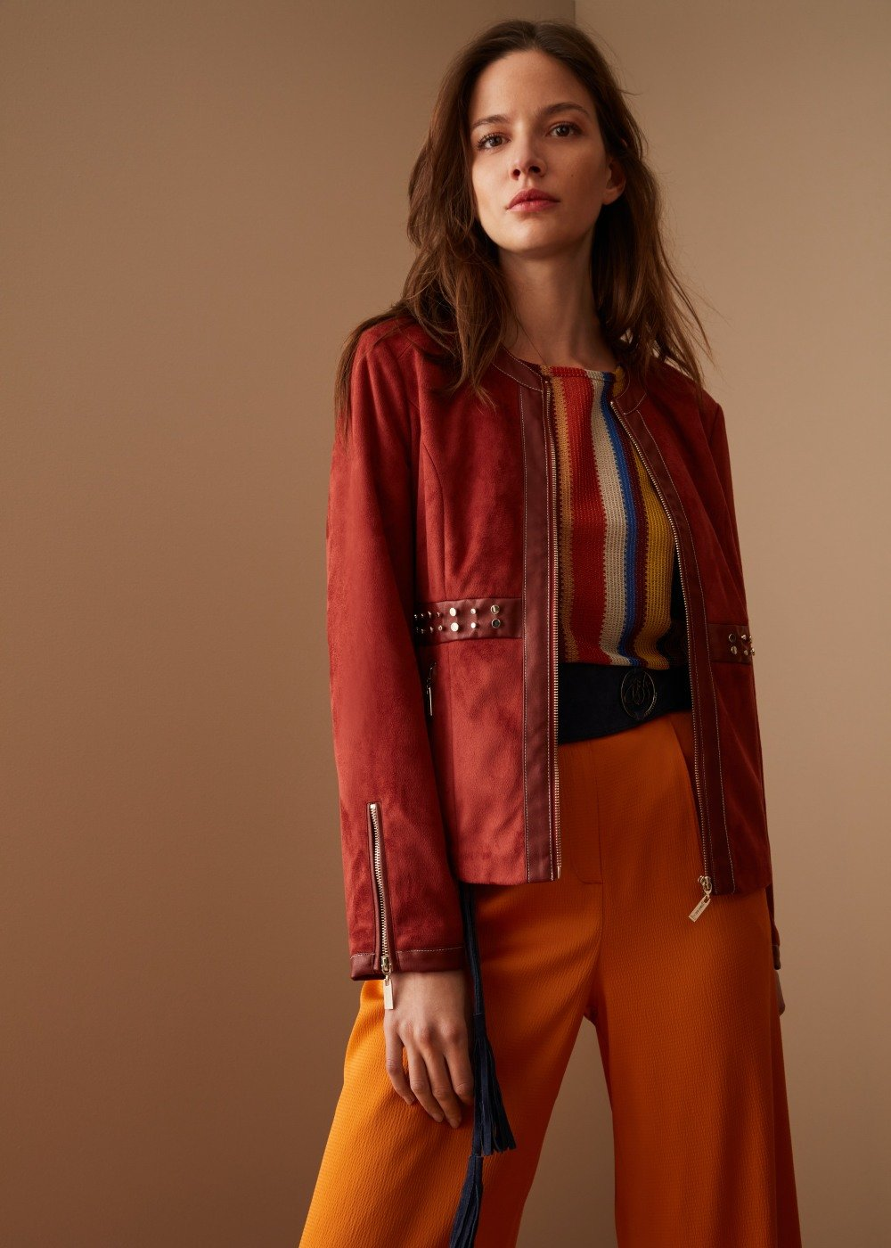 Garys faux-suede jacket with studded insets - Coccio - Woman