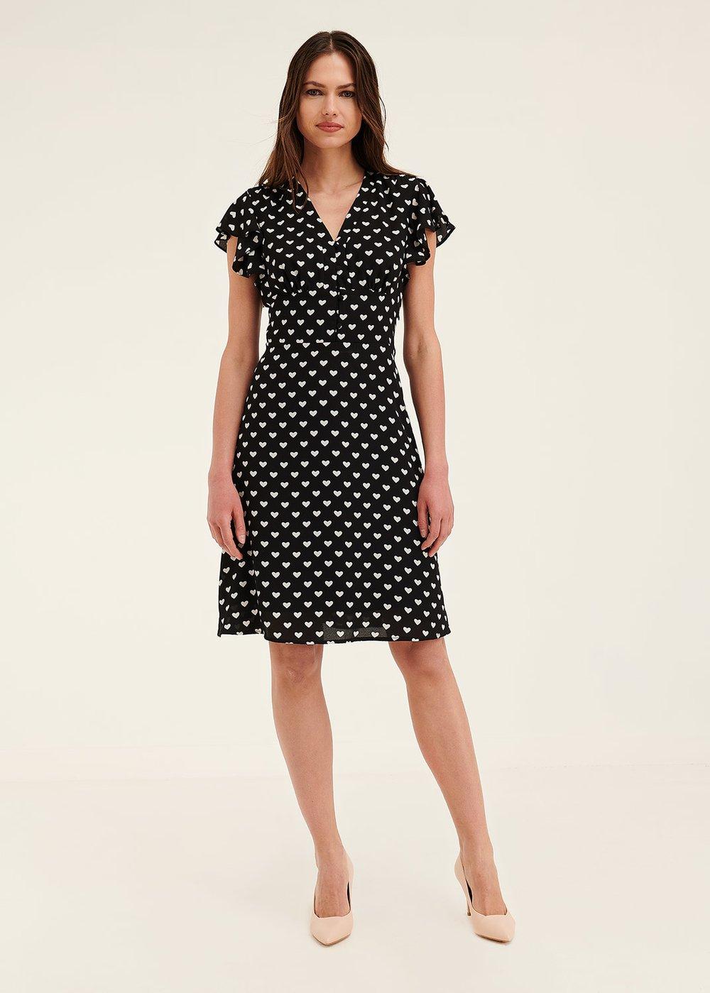 Amie heart print dress - Black White Fantasia - Woman