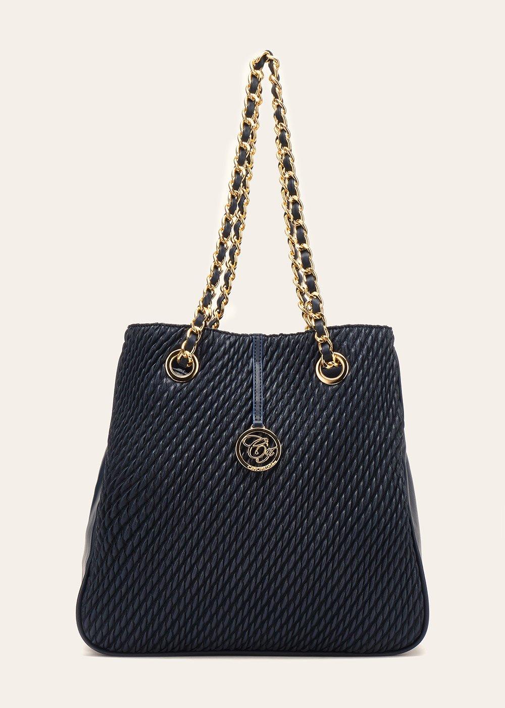 Shopping bag Brian con pannello goffrato - Medium Blue - Donna