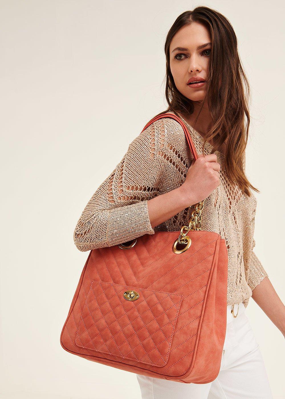 Shopping bag Born con tasca frontale - Aragosta - Donna