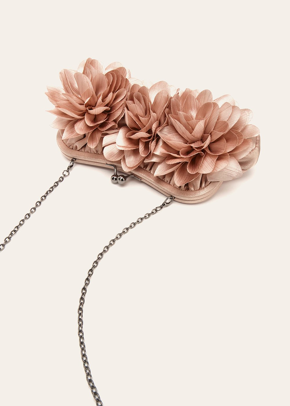 Bran satin clutch bag with flowers - Taupe - Woman