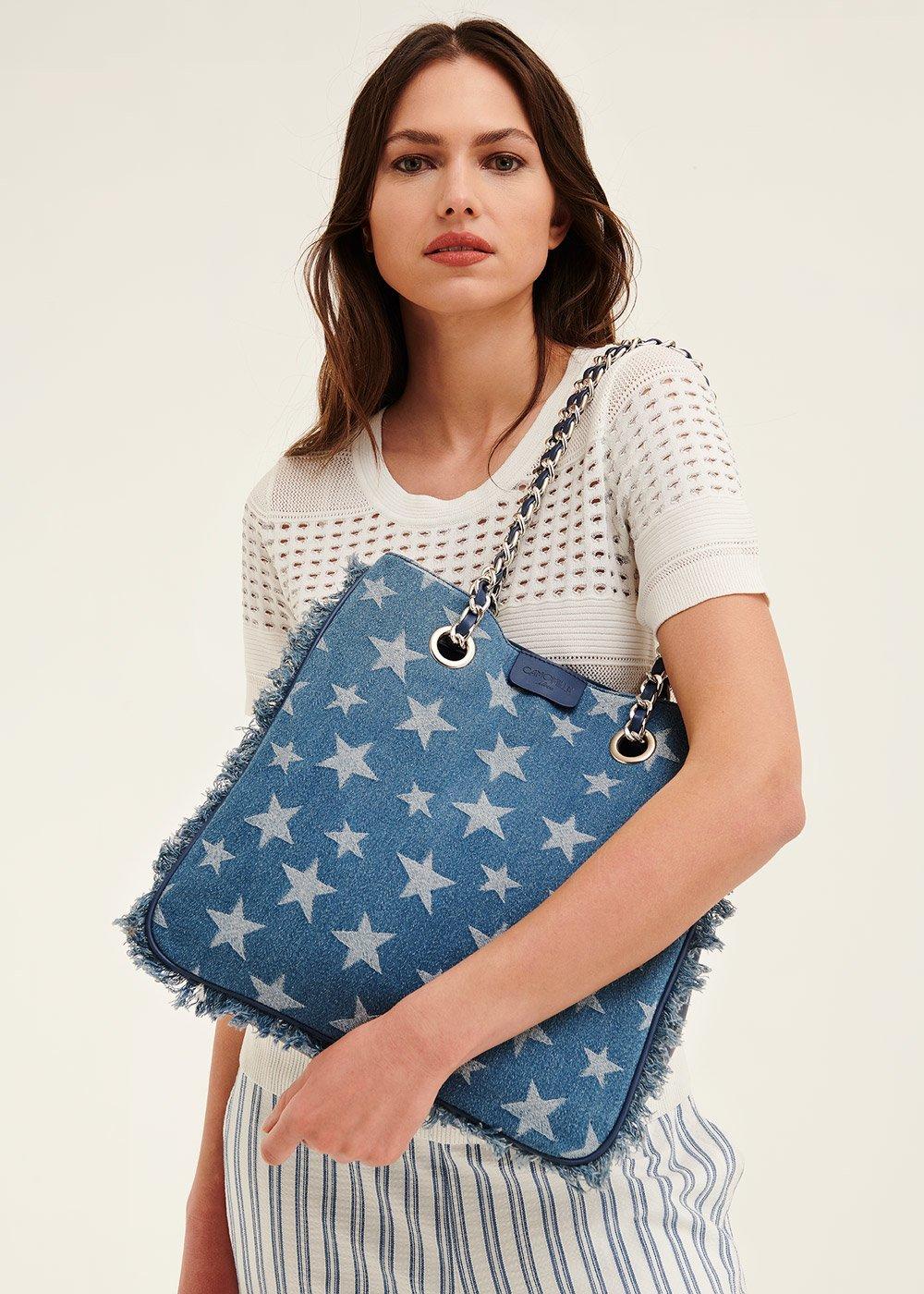 Backed denim shopping bag - Medium Blue - Woman