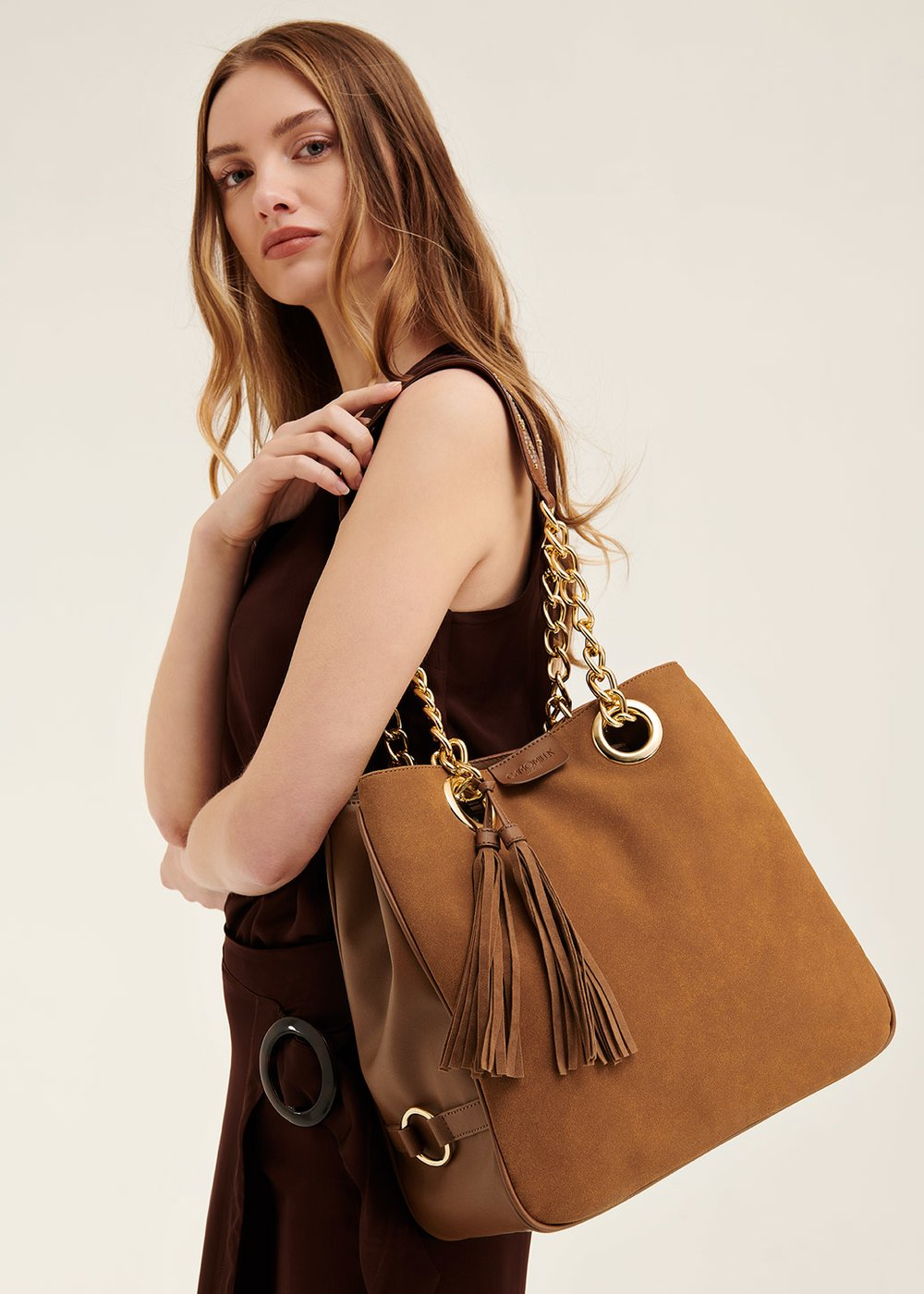 Badin shopping bag with macro tassels - Pecan - Woman