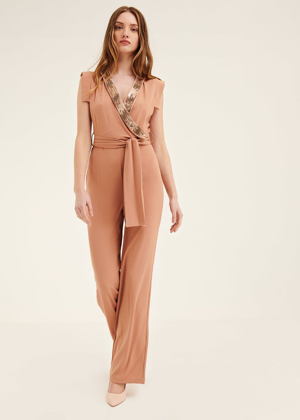 Thea jumpsuit with sequined border - Salmon - Woman
