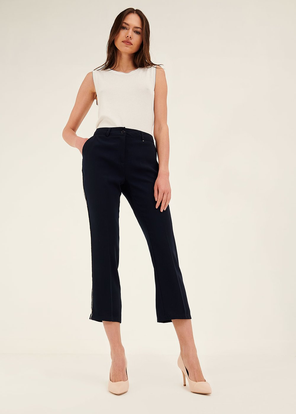 Paolo trousers with rhinestone trimmings - Blue Navy - Woman