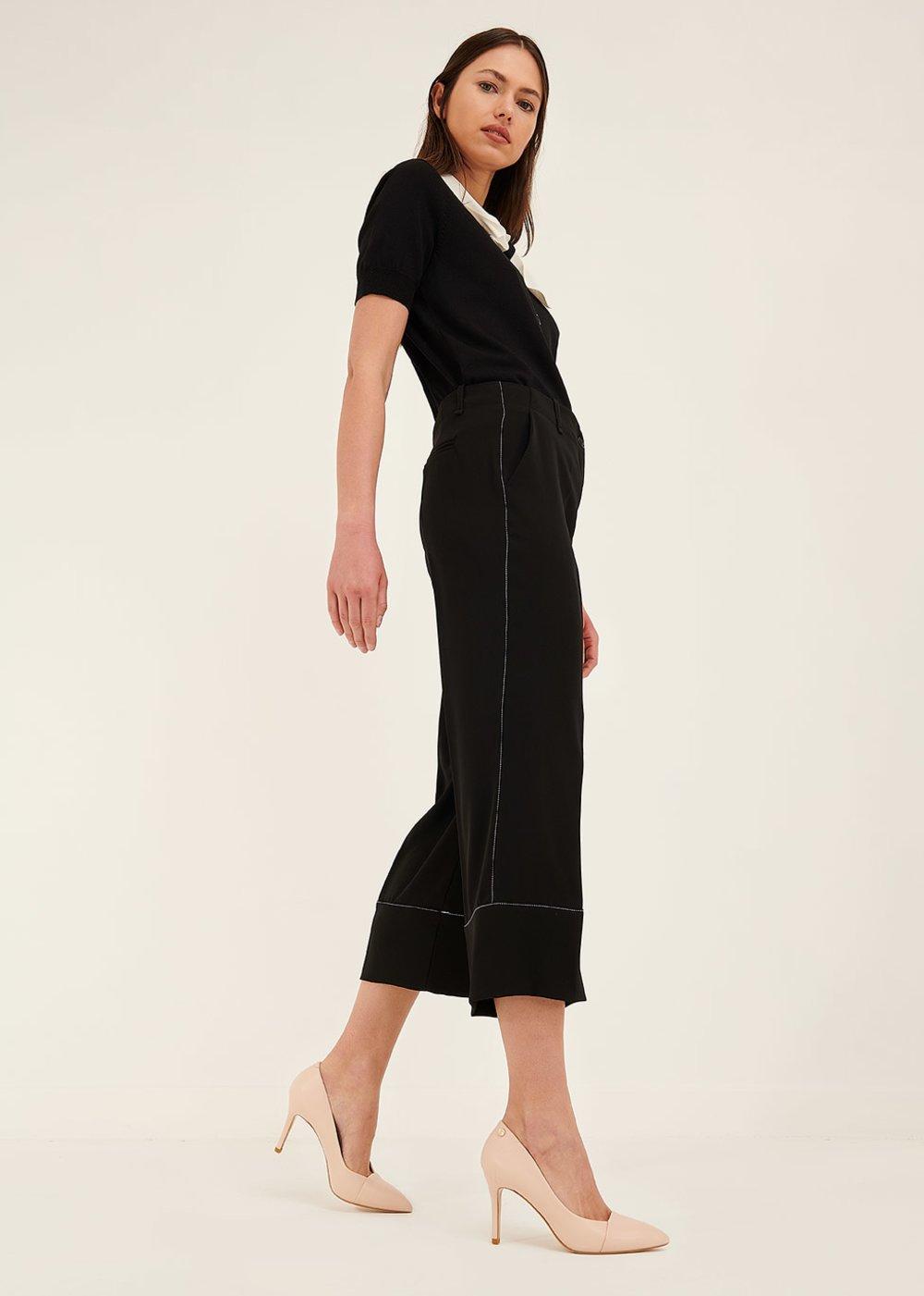 Pantalone Sara con bordo a contrasto - Black - Donna
