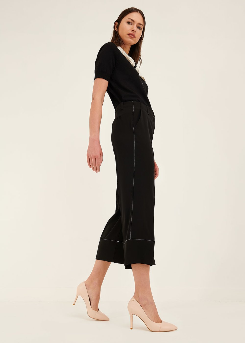 Sara trousers with contrasting hem - Black - Woman