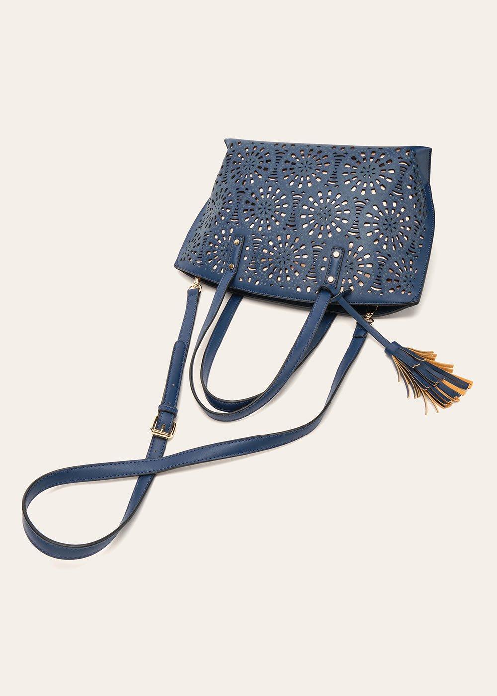 Shopping Bryn in eco pelle traforata - Medium Blue - Donna