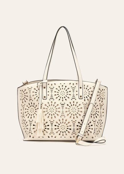 Bryn openwork faux-leather shopping bag