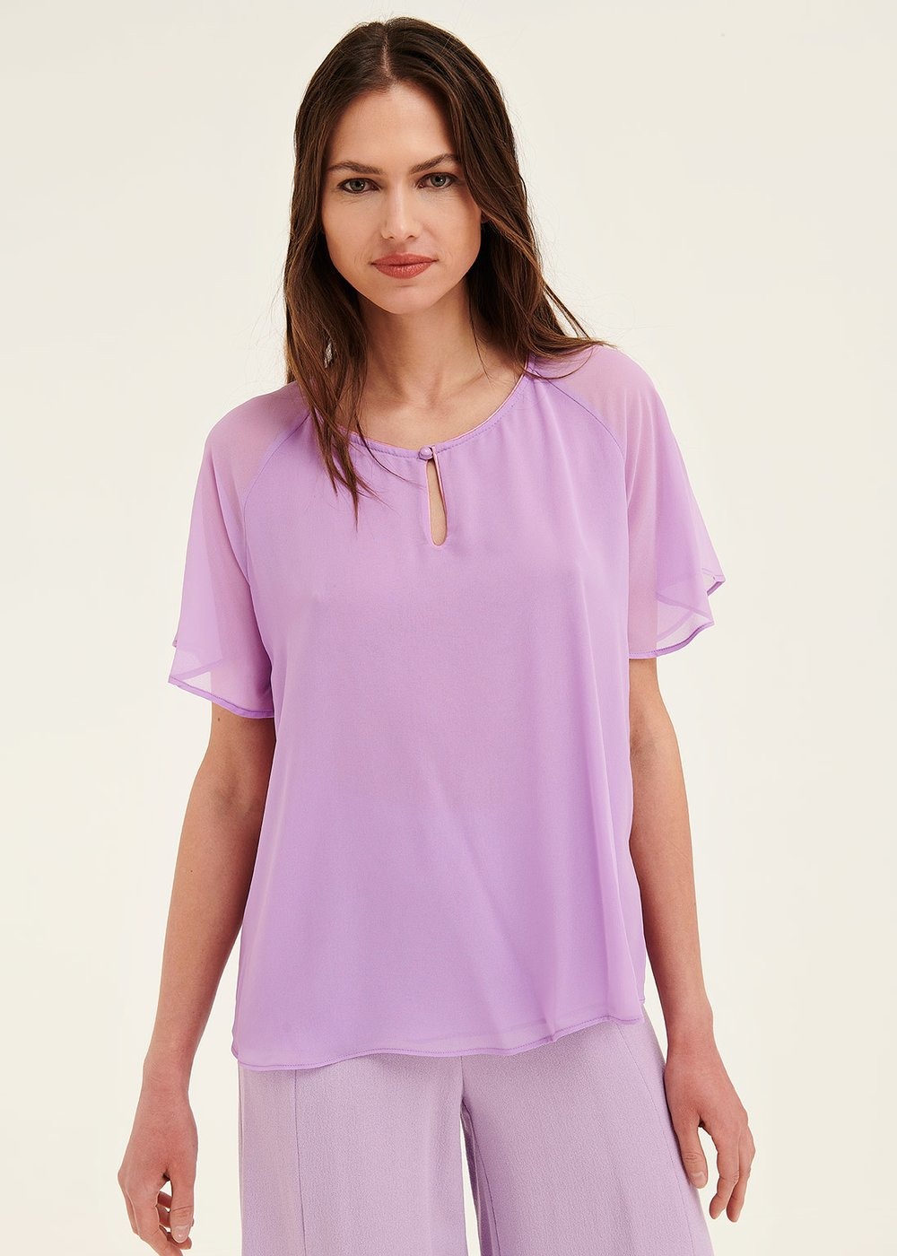 Crys shirt with ruffles - Bouganville - Woman