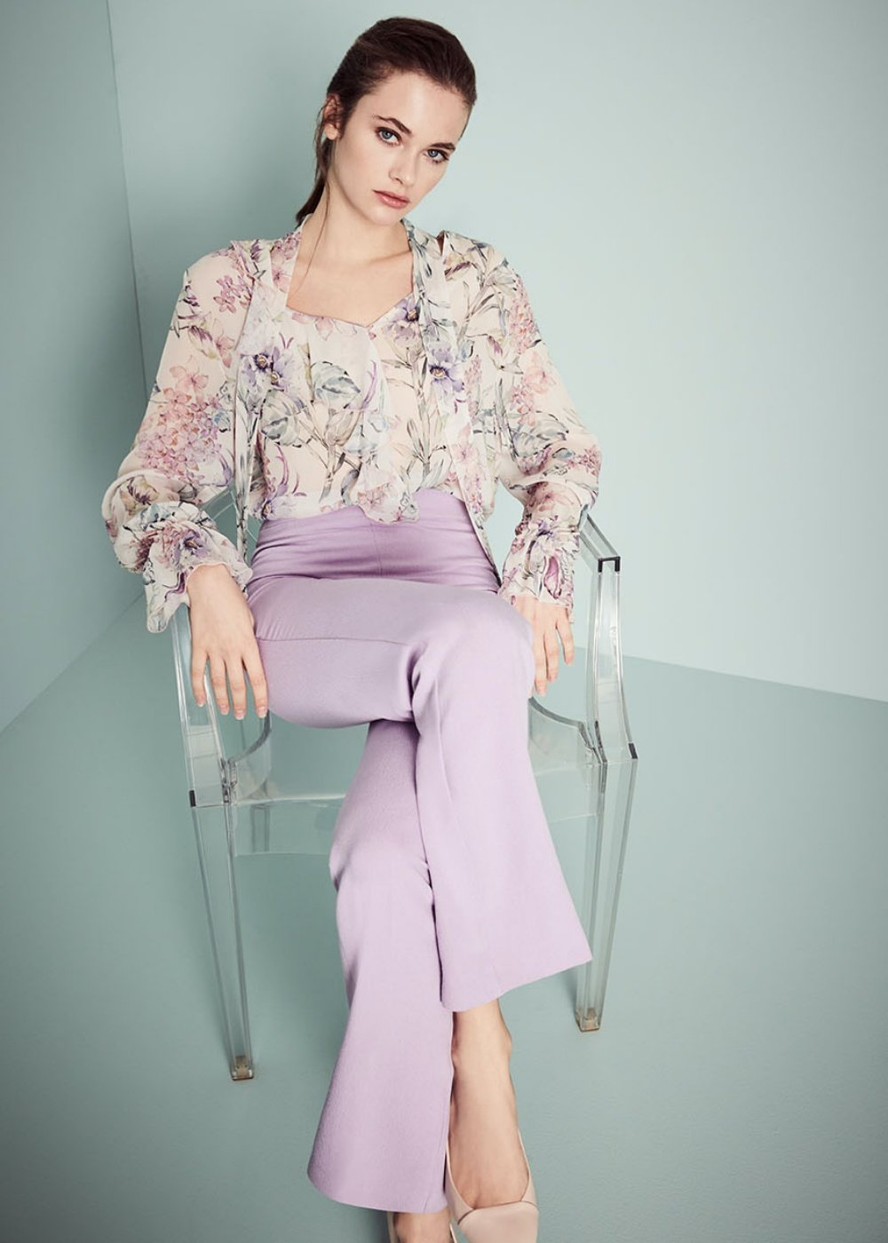 Clyd patterned shirt with bow at the neckline - Rosa\ Candy Fantasia - Woman