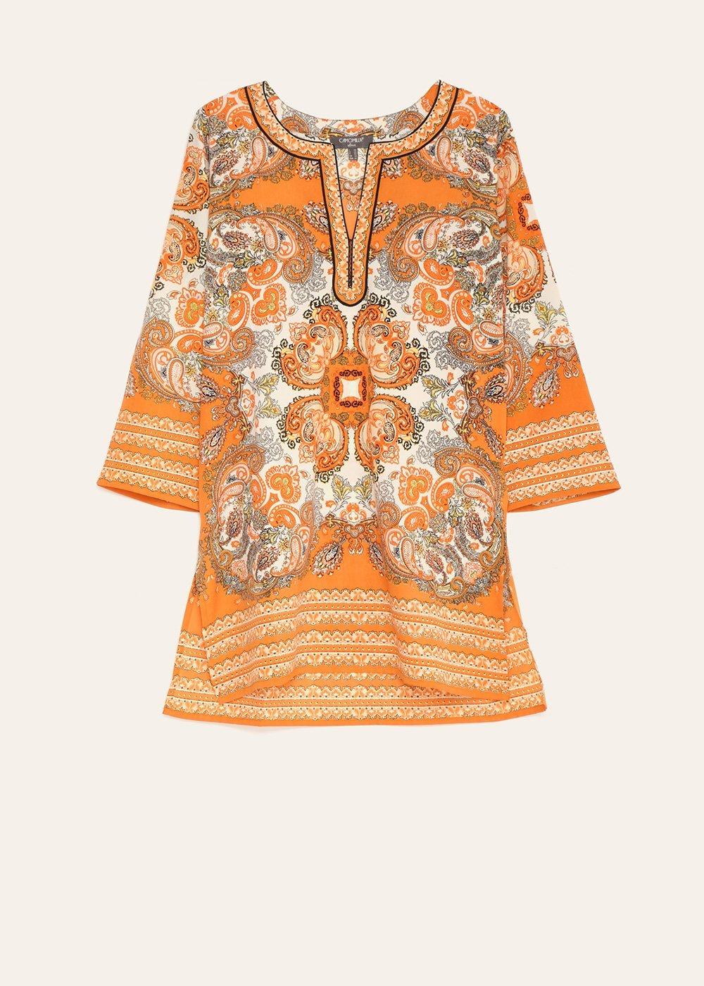 Catherine kaftan blouse - Cacao \ White \ Fantasia - Woman