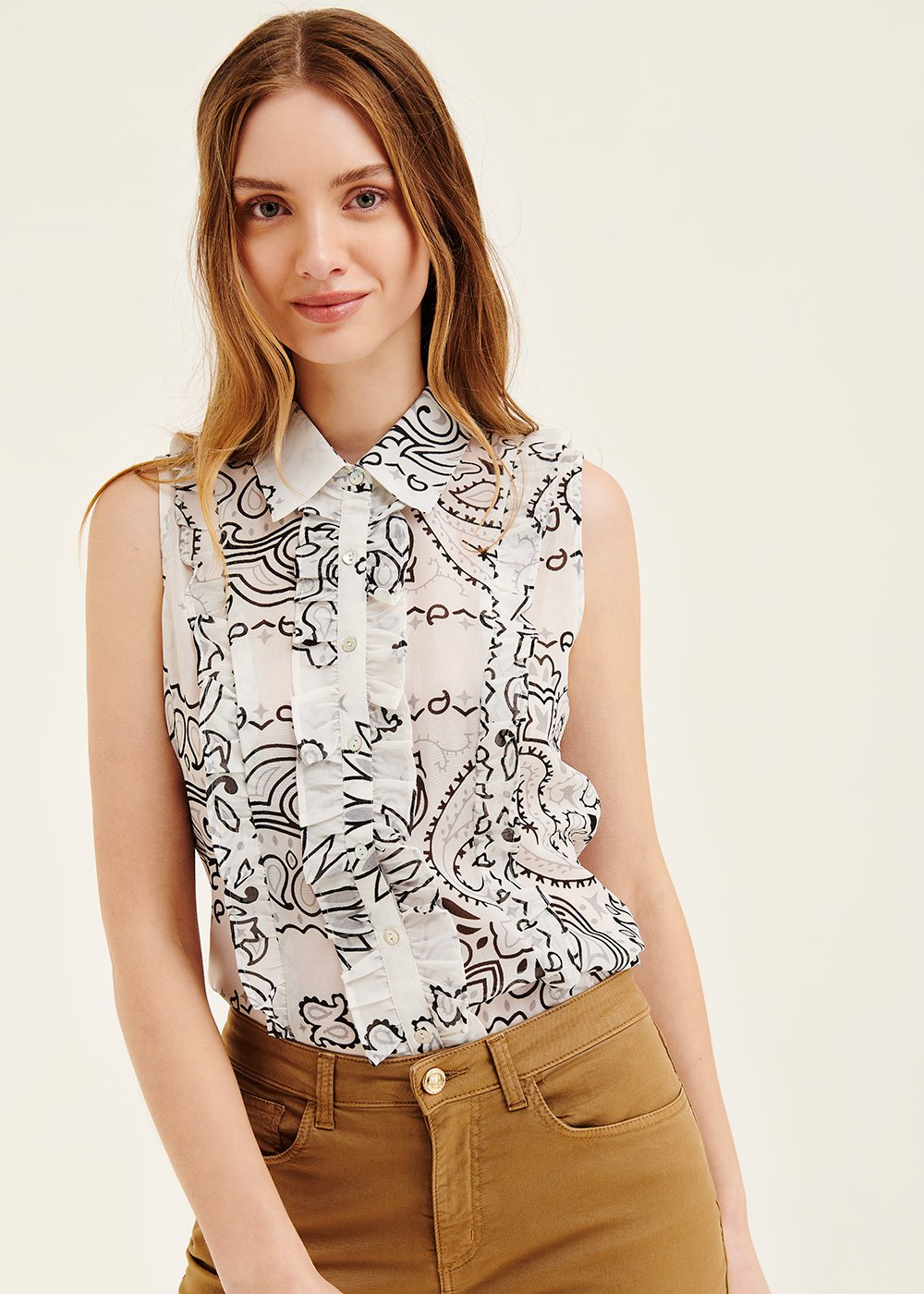 Caryen shirt with macro paisley pattern - Black White Fantasia - Woman