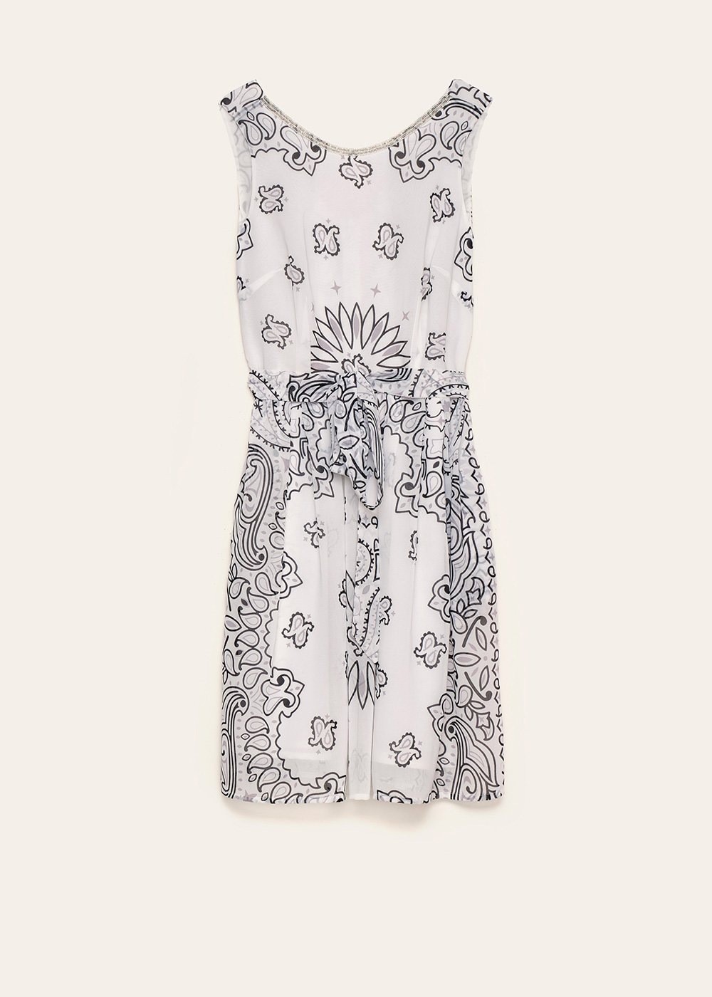 Aryen dress with macro paisley pattern - Black White Fantasia - Woman