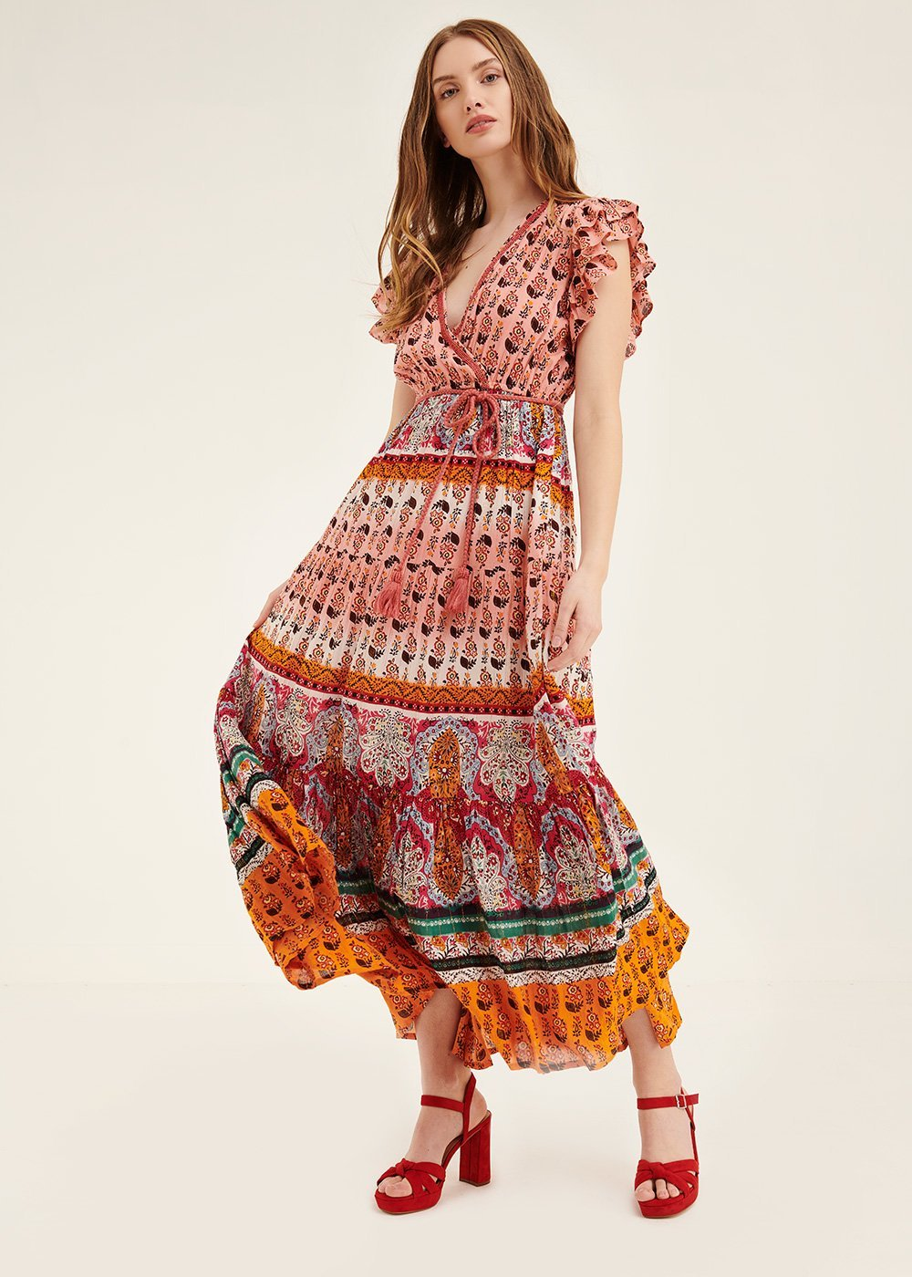 Adry Jaipur print dress - Salmone \ Cacao \ Fantasia - Woman