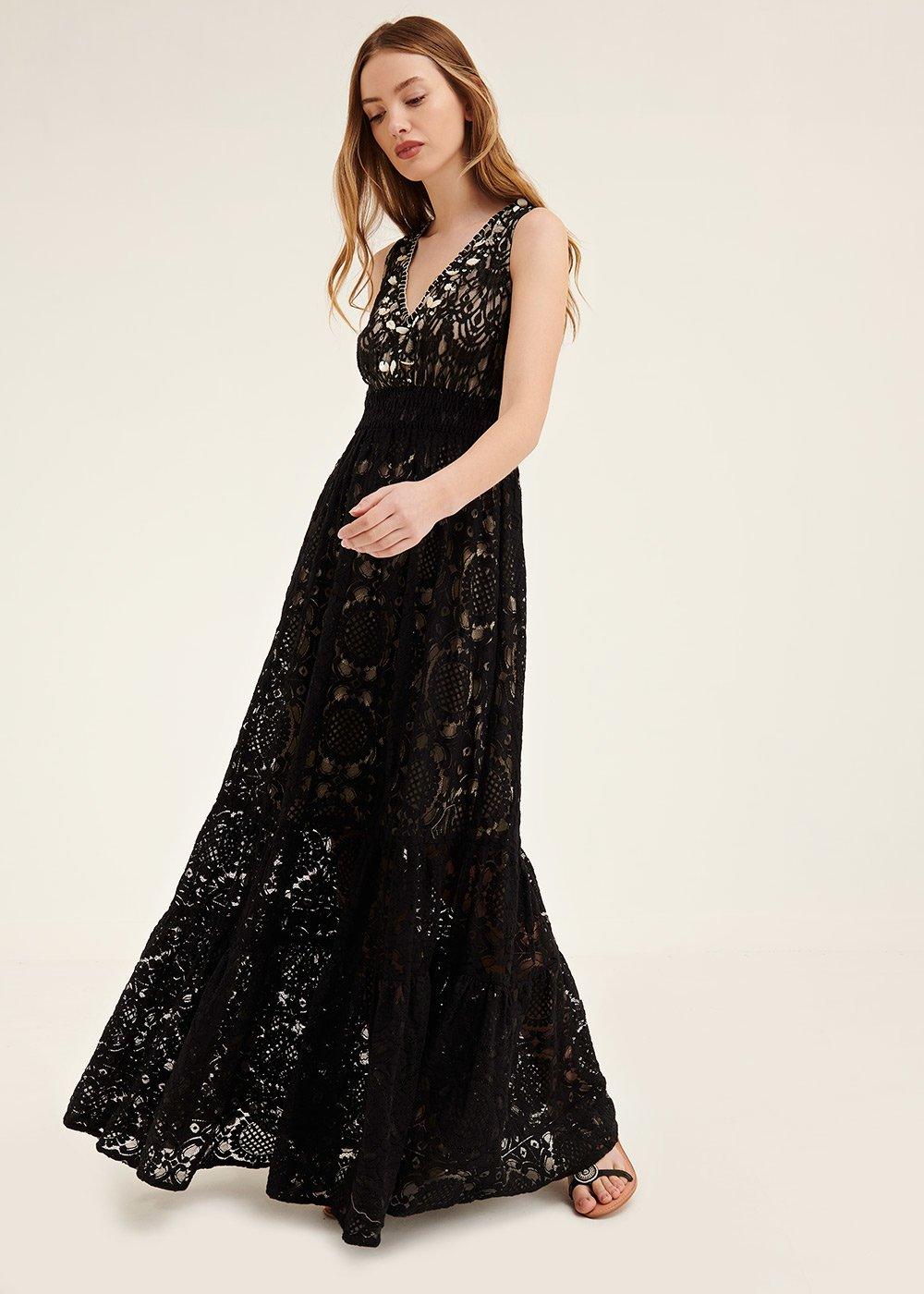 Anthony embroidered lace dress - Black - Woman