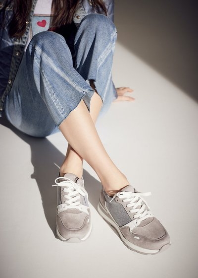 Shelly sneakers with glitter inset