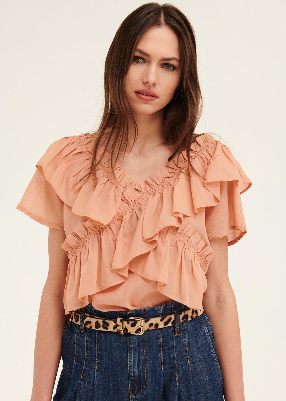 Tish blouse with ruffles - Salmon - Woman